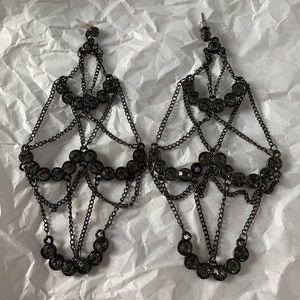 Long Dangly Chandelier Earrings Rhinestones Chains